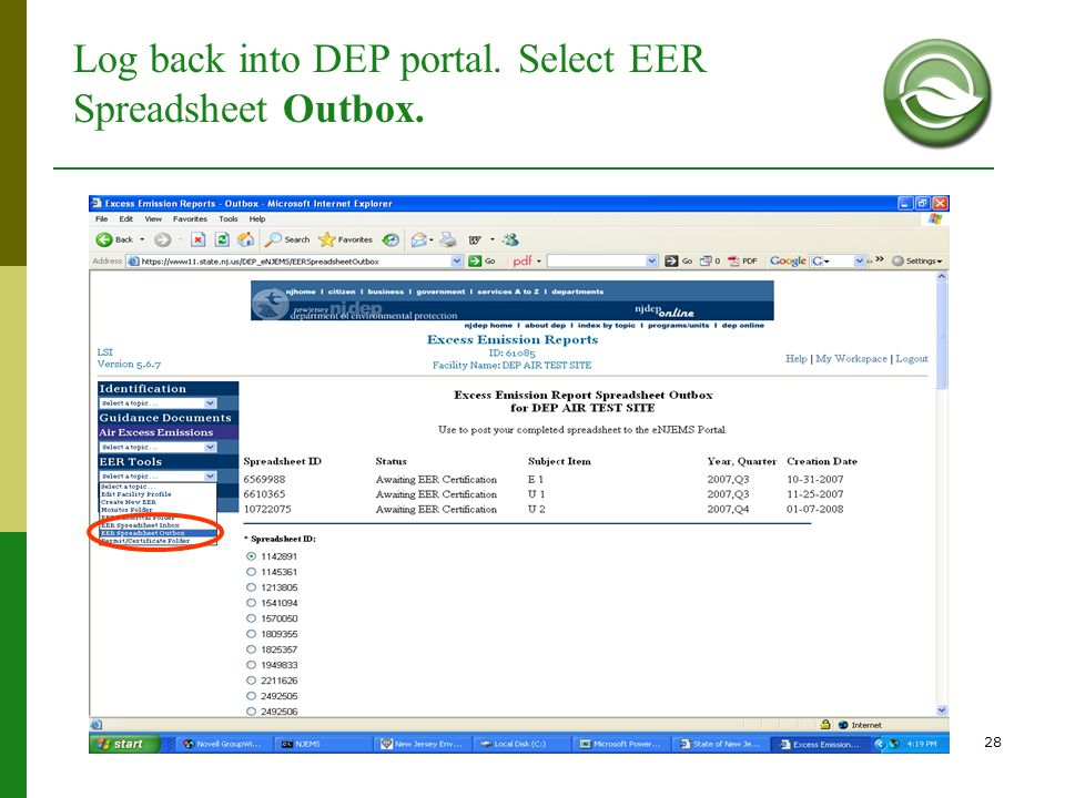 Log back into DEP portal. Select EER Spreadsheet Outbox.