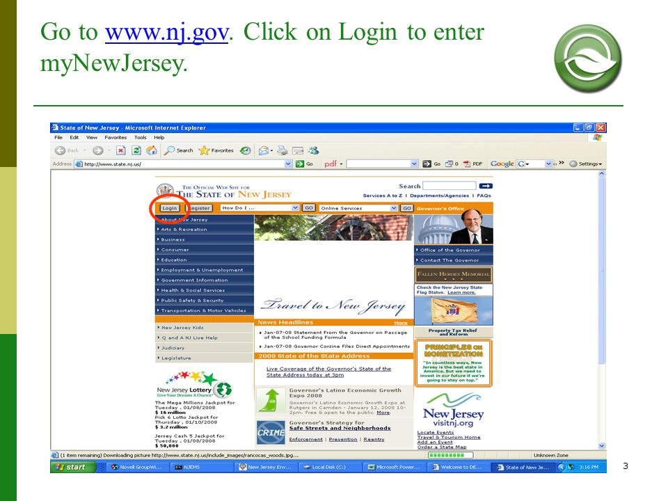 Go to www.nj.gov. Click on Login to enter myNewJersey.