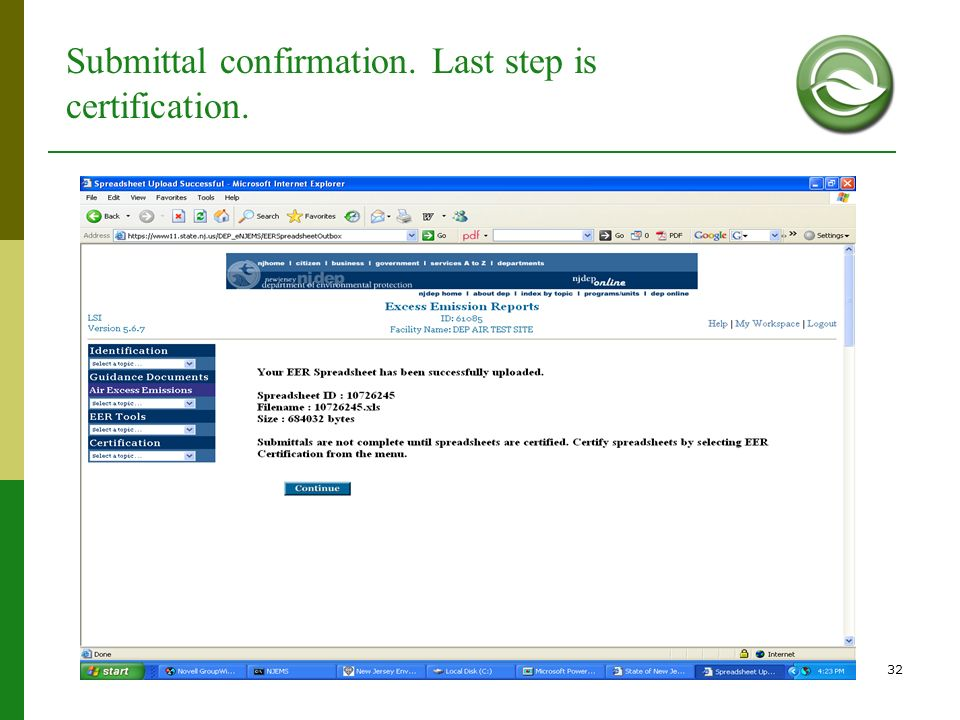 Submittal confirmation. Last step is certification.