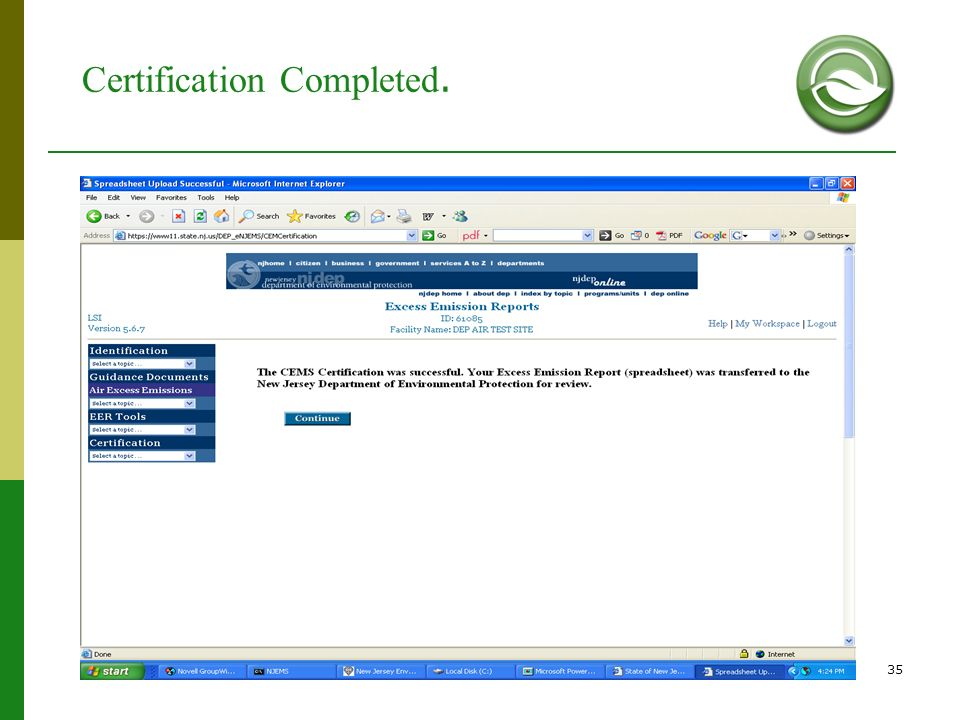 Certification Completed.