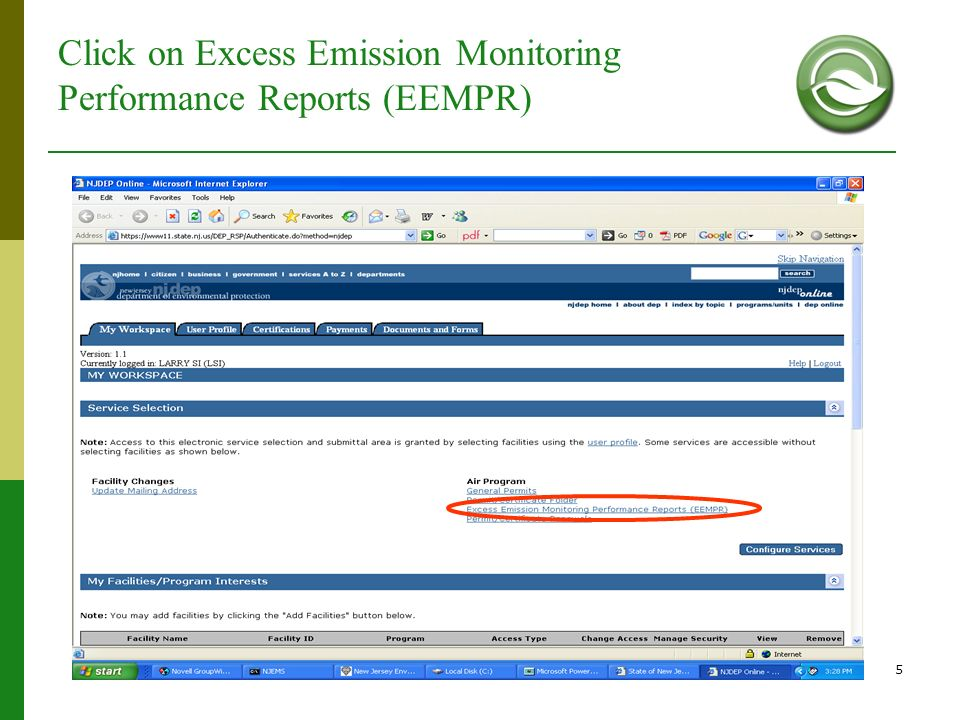 Click on Excess Emission Monitoring Performance Reports (EEMPR)