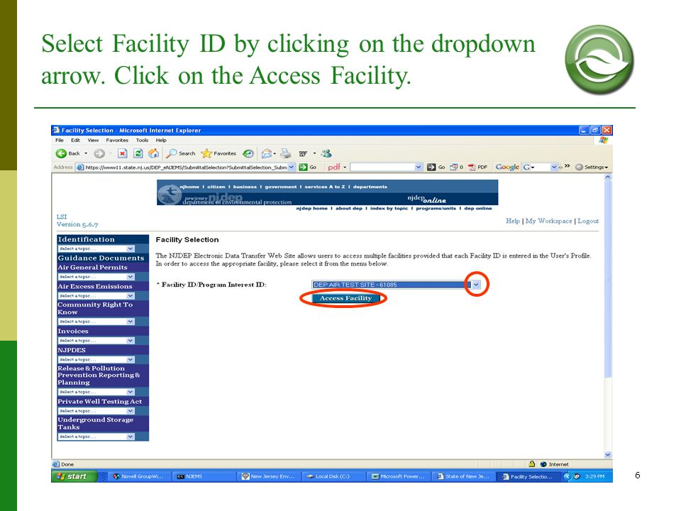 Select Facility ID by clicking on the dropdown arrow