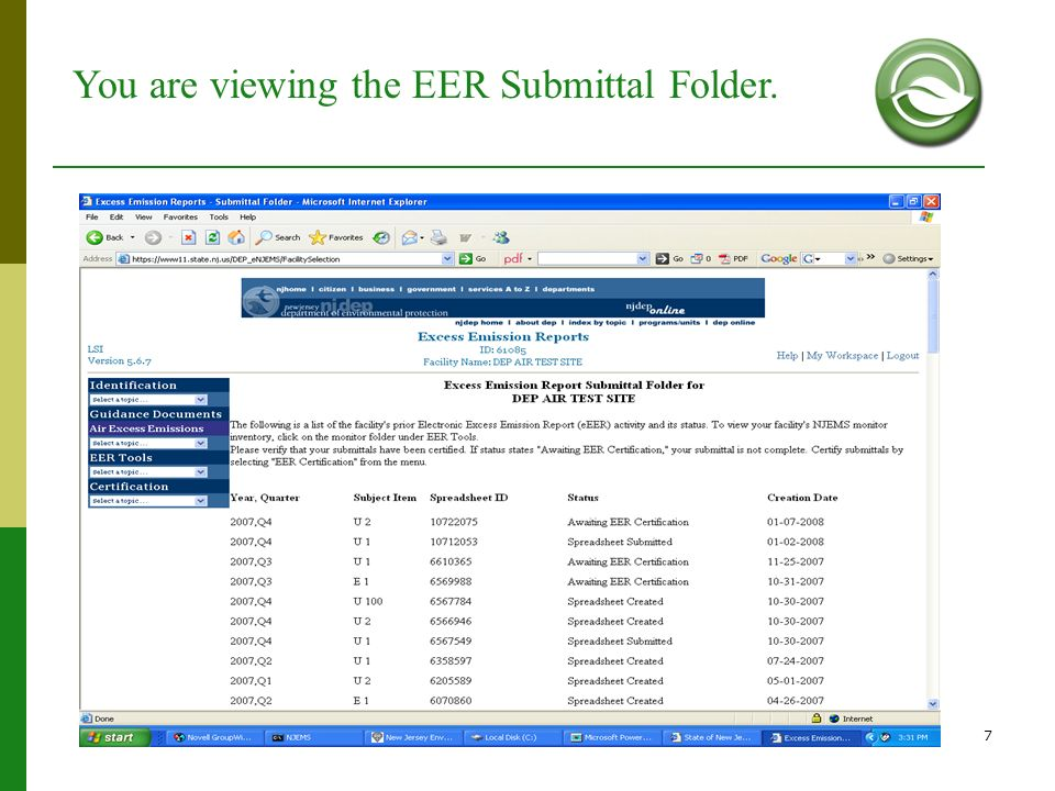 You are viewing the EER Submittal Folder.