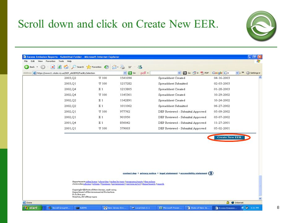 Scroll down and click on Create New EER.