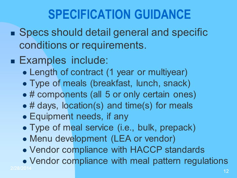 SPECIFICATION GUIDANCE