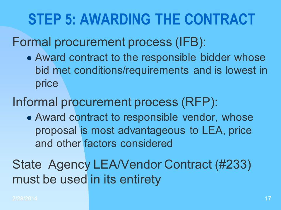 STEP 5: AWARDING THE CONTRACT