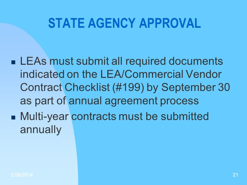 STATE AGENCY APPROVAL