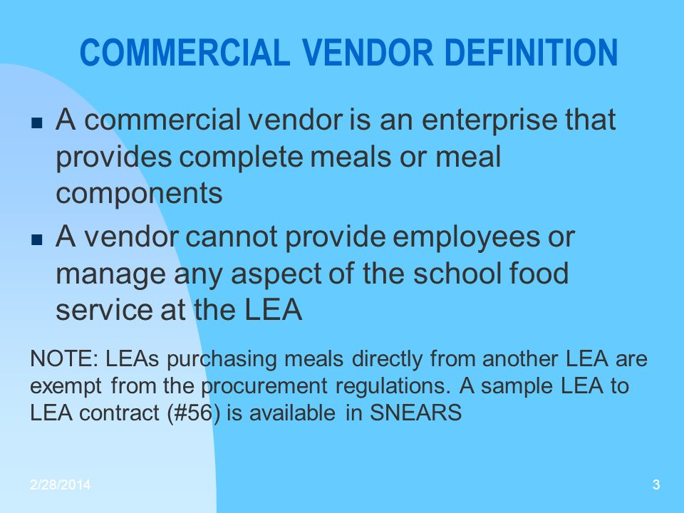 COMMERCIAL VENDOR DEFINITION