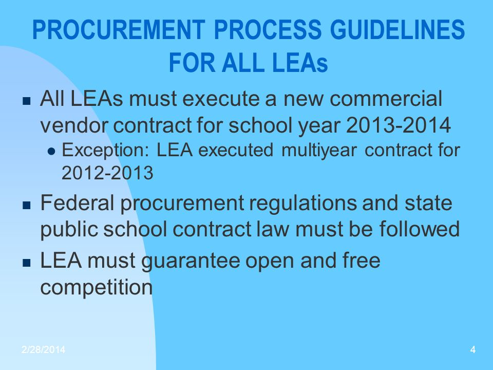 PROCUREMENT PROCESS GUIDELINES FOR ALL LEAs