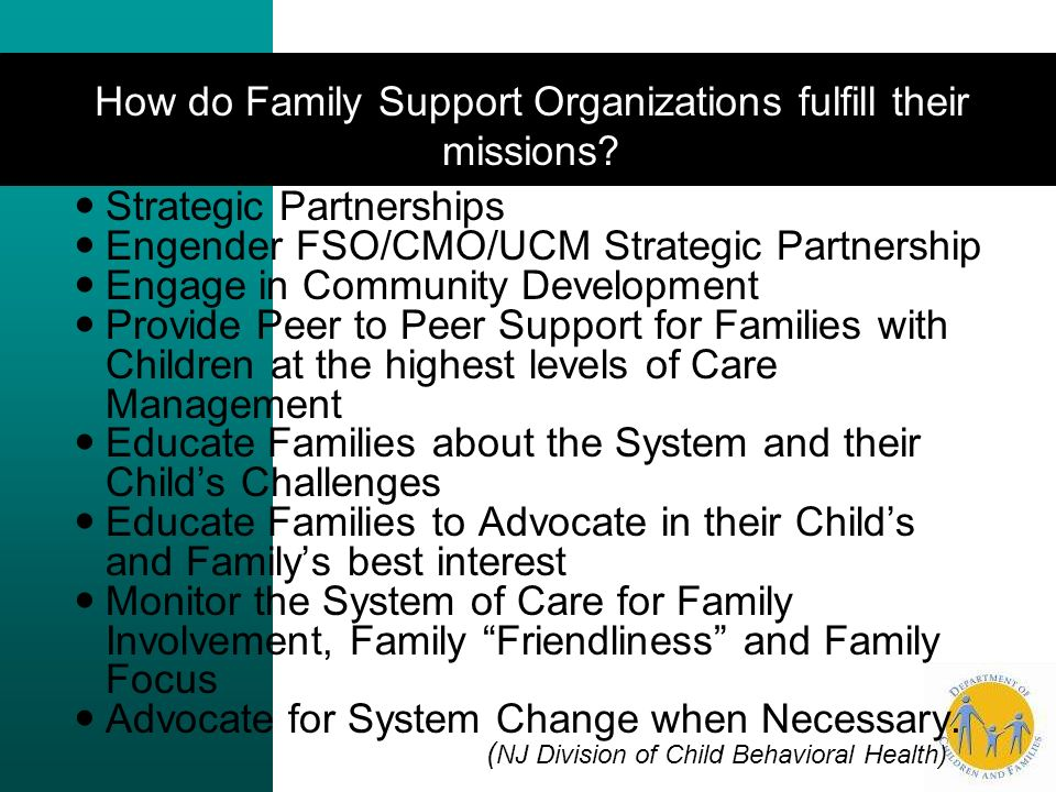 How do Family Support Organizations fulfill their missions