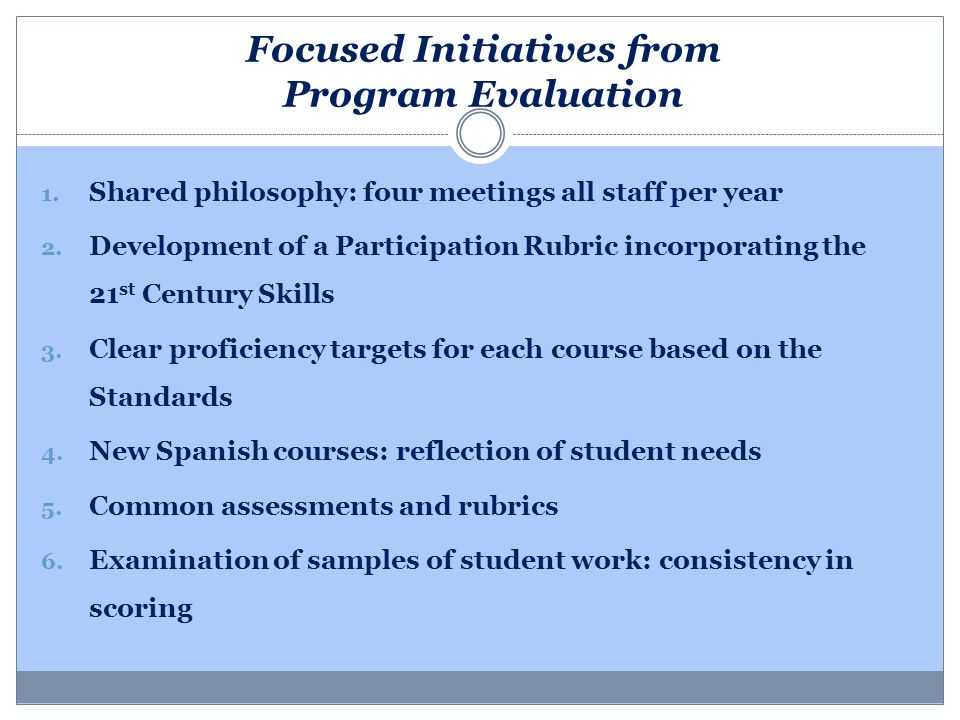 Focused Initiatives from Program Evaluation