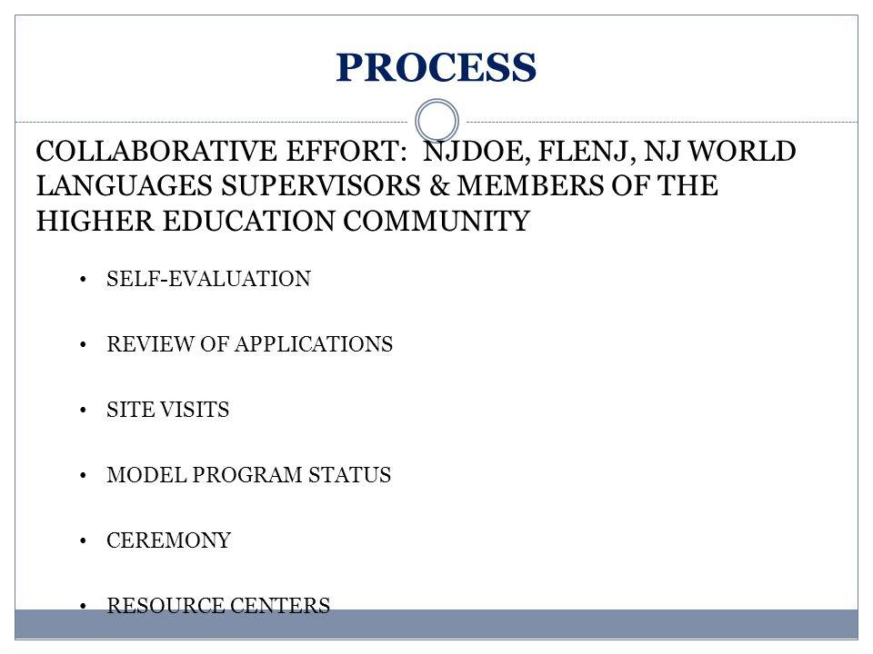 PROCESS COLLABORATIVE EFFORT: NJDOE, FLENJ, NJ WORLD LANGUAGES SUPERVISORS & MEMBERS OF THE HIGHER EDUCATION COMMUNITY.