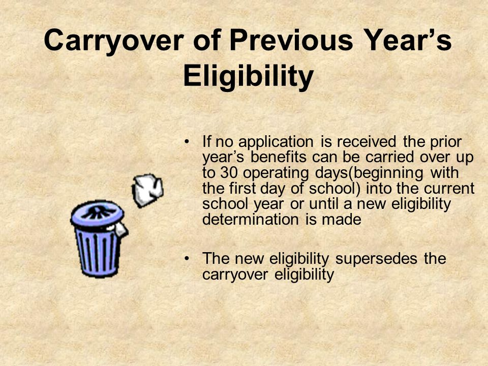 Carryover of Previous Year's Eligibility