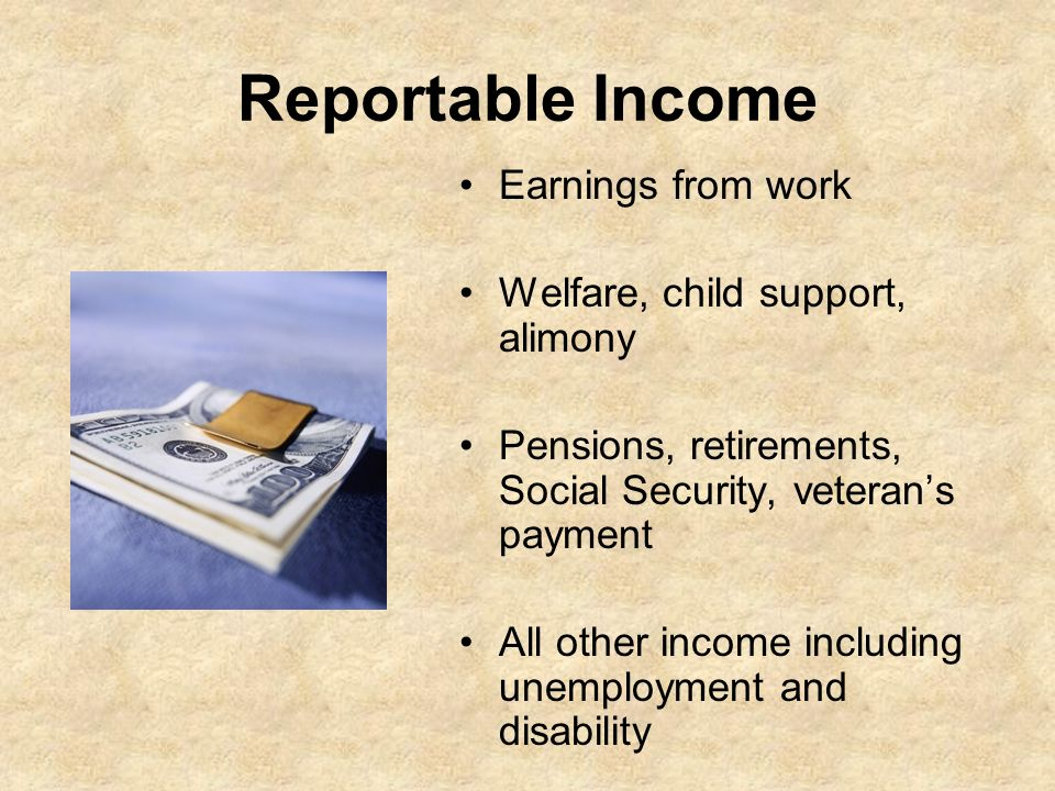 Reportable Income Earnings from work Welfare, child support, alimony