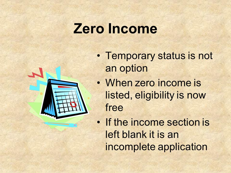 Zero Income Temporary status is not an option