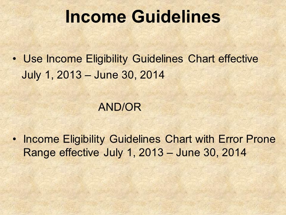 Income Guidelines Use Income Eligibility Guidelines Chart effective
