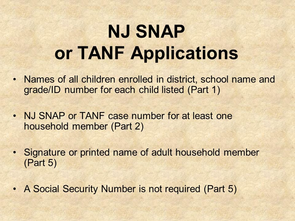 NJ SNAP or TANF Applications