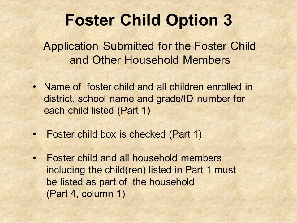 Foster Child Option 3 Application Submitted for the Foster Child