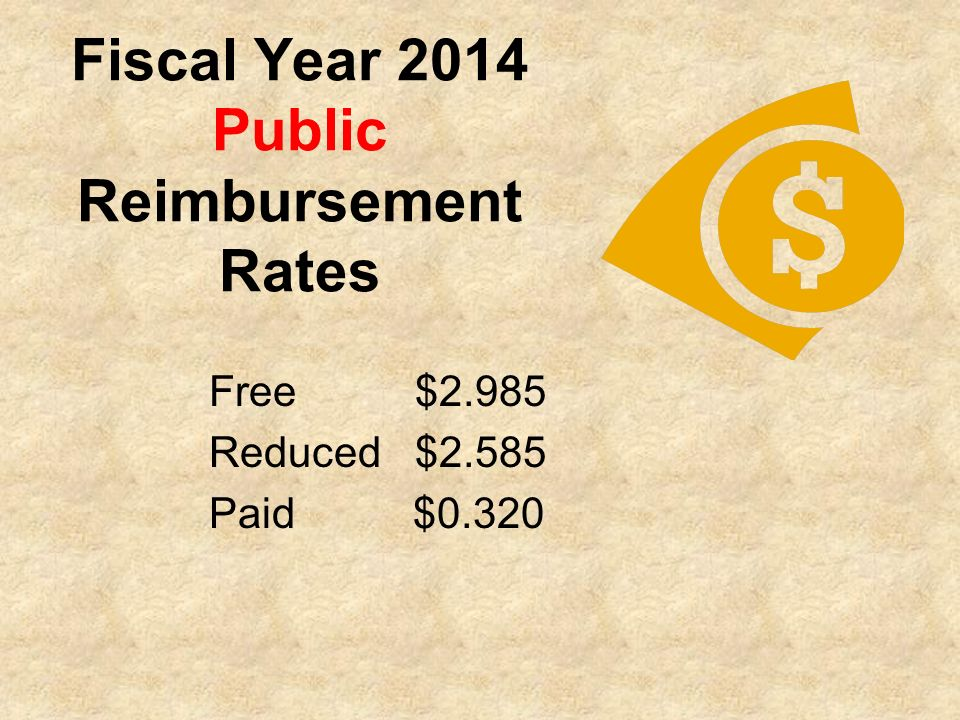 Fiscal Year 2014 Public Reimbursement Rates