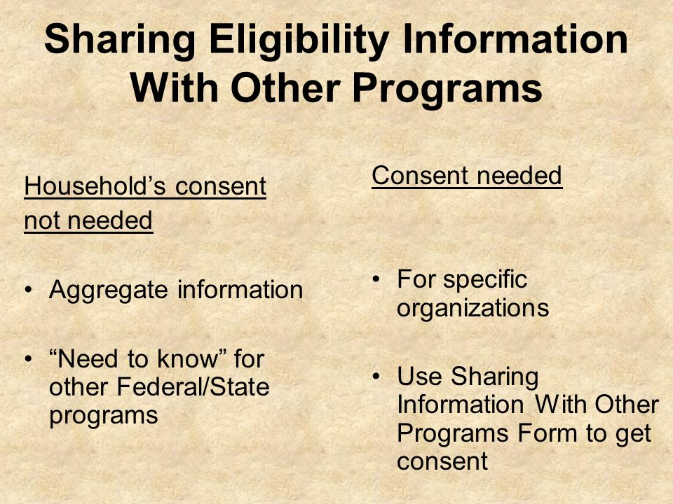 Sharing Eligibility Information With Other Programs