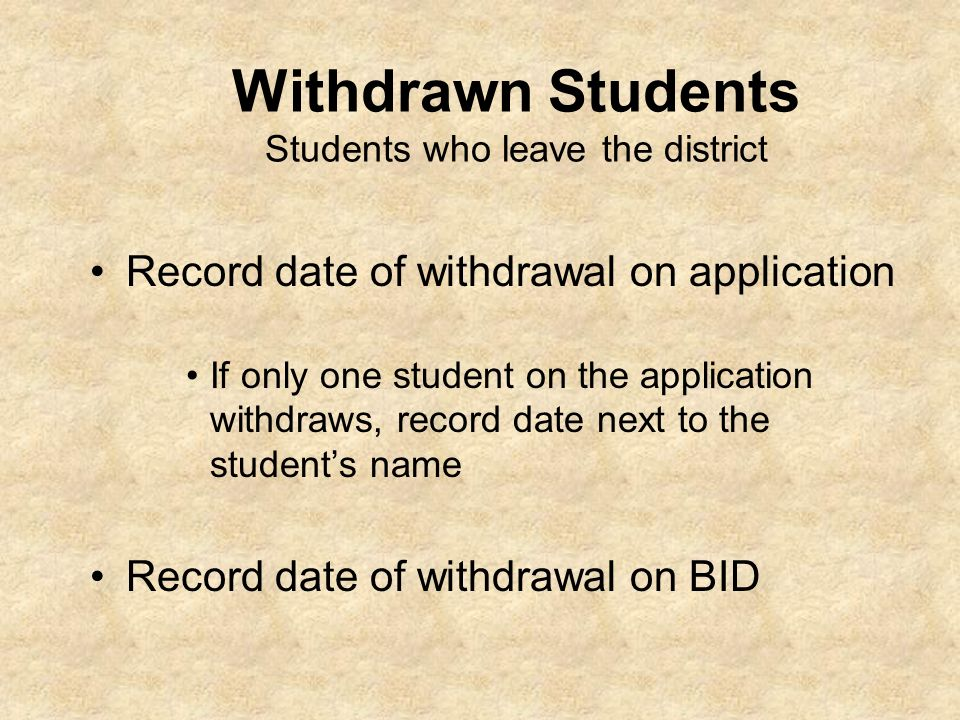 Withdrawn Students Students who leave the district