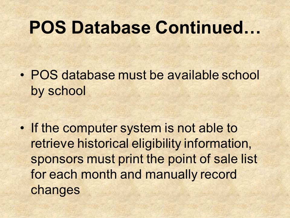 POS Database Continued…