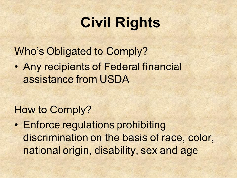 Civil Rights Who's Obligated to Comply