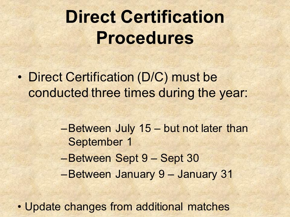 Direct Certification Procedures