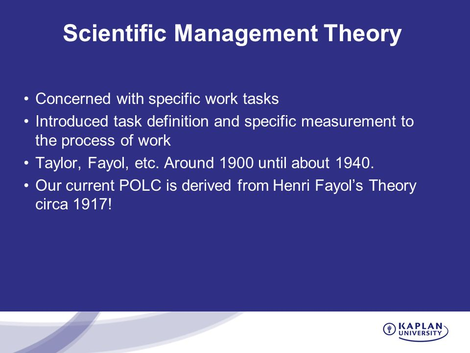 is the 'scientific management' approach to Source: scientific management, comprising shop management, the principles of scientific management and testimony before the special house committee, by frederick winslow taylor, harper & row, 1911.