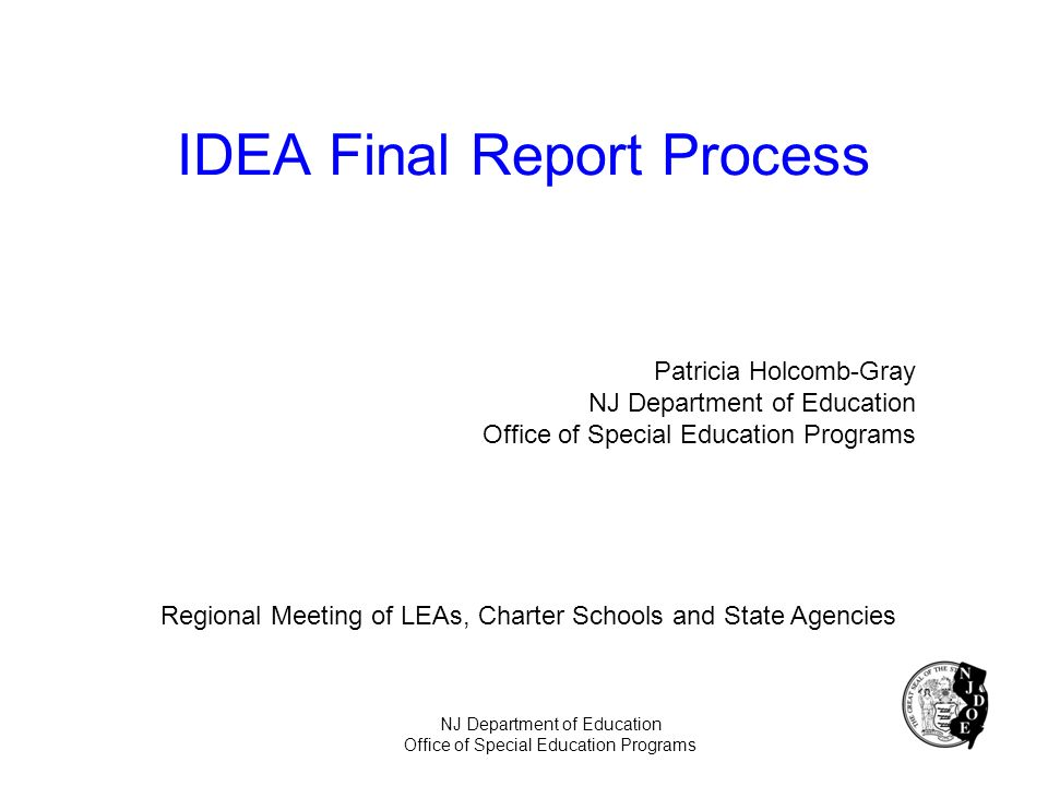 IDEA Final Report Process