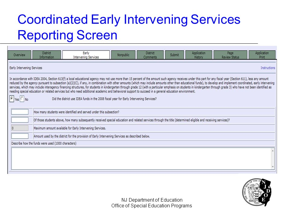 Coordinated Early Intervening Services Reporting Screen