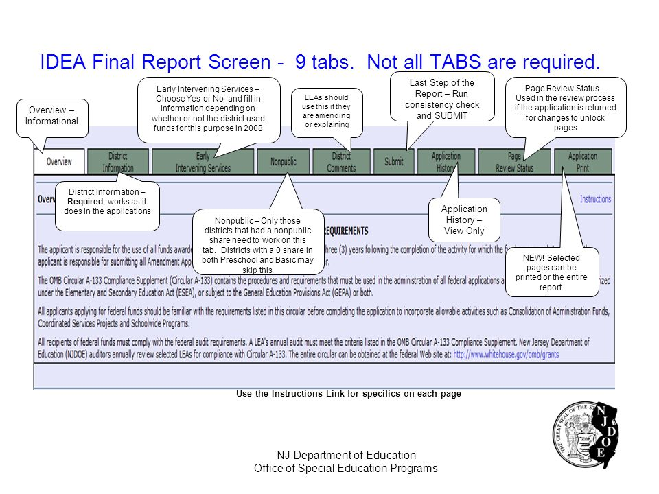 IDEA Final Report Screen - 9 tabs. Not all TABS are required.