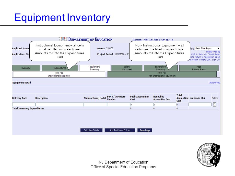 Equipment Inventory NJ Department of Education