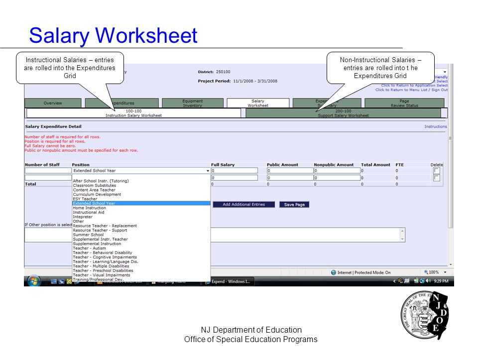 Salary Worksheet NJ Department of Education