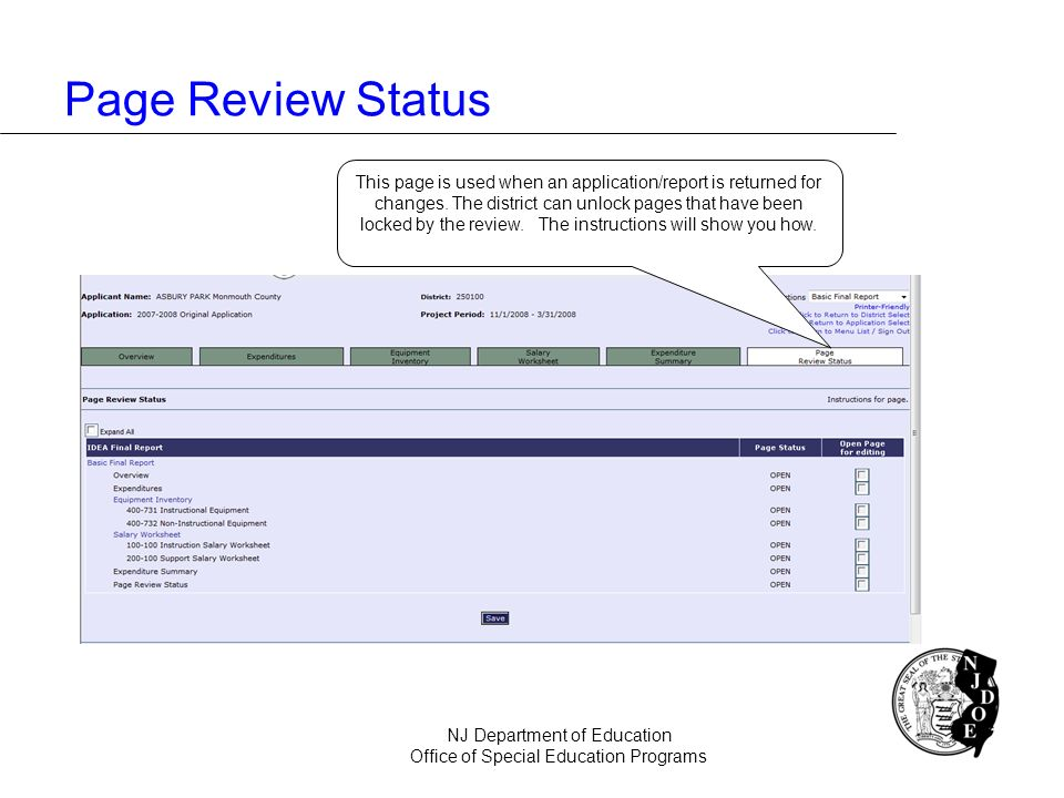Page Review Status