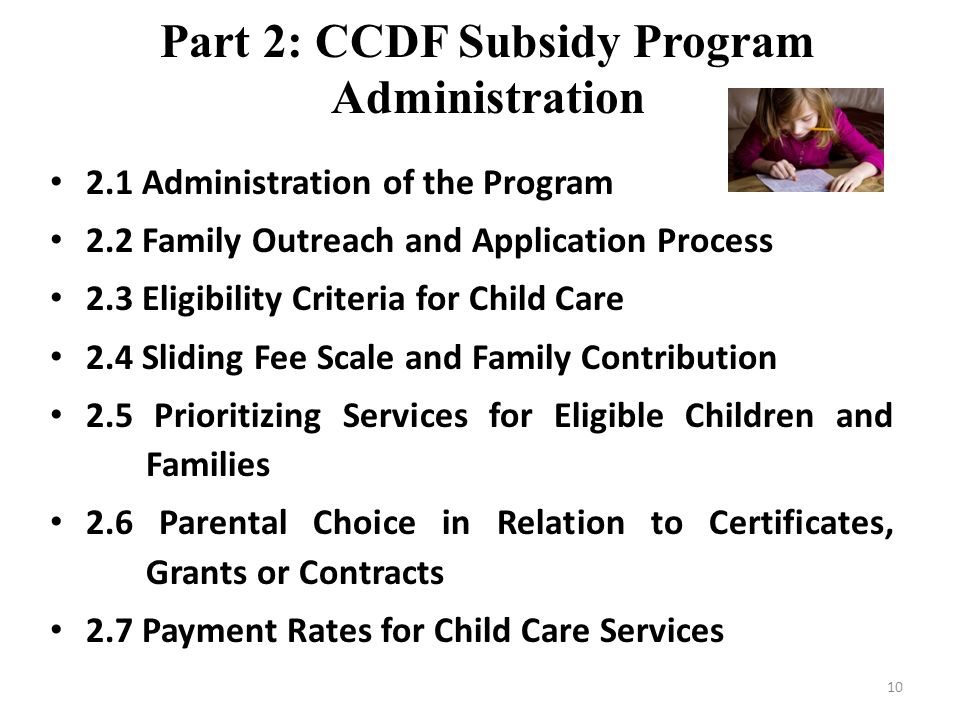 Part 2: CCDF Subsidy Program Administration