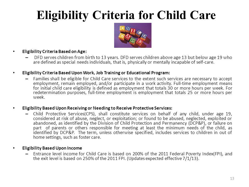 Eligibility Criteria for Child Care