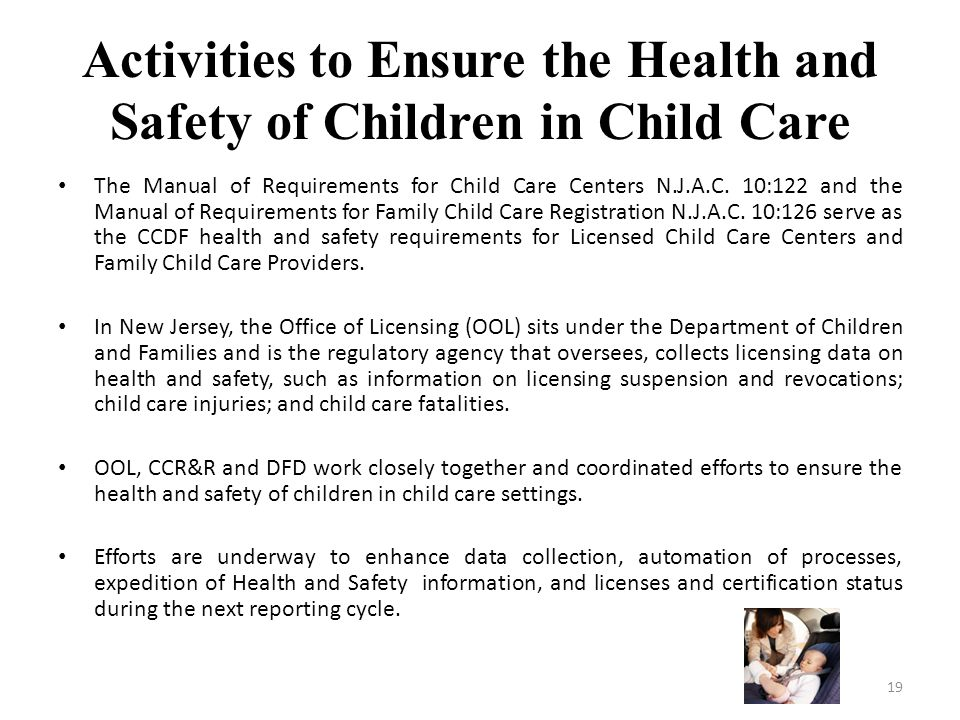 Activities to Ensure the Health and Safety of Children in Child Care