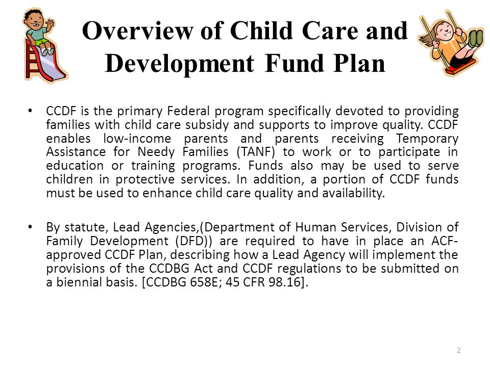 Overview of Child Care and Development Fund Plan