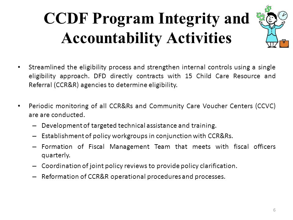 CCDF Program Integrity and Accountability Activities