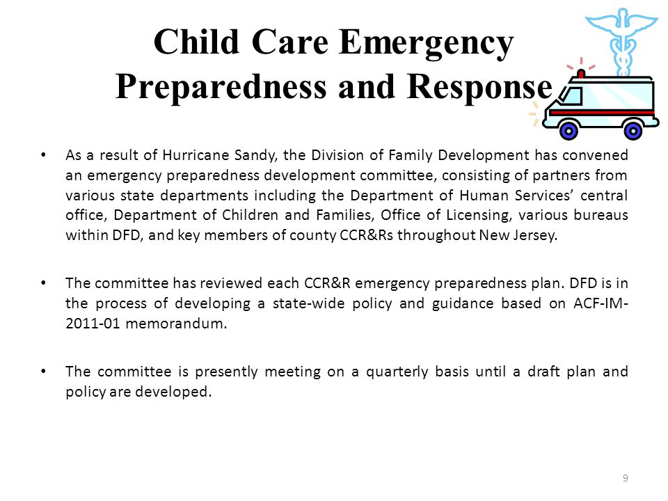 Child Care Emergency Preparedness and Response