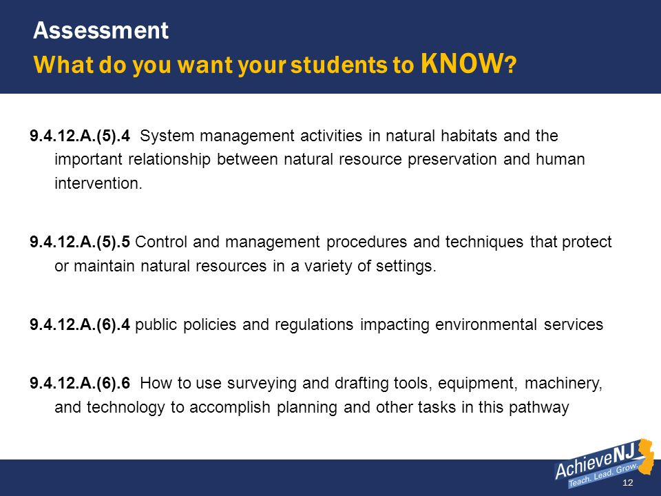 Assessment What do you want your students to KNOW