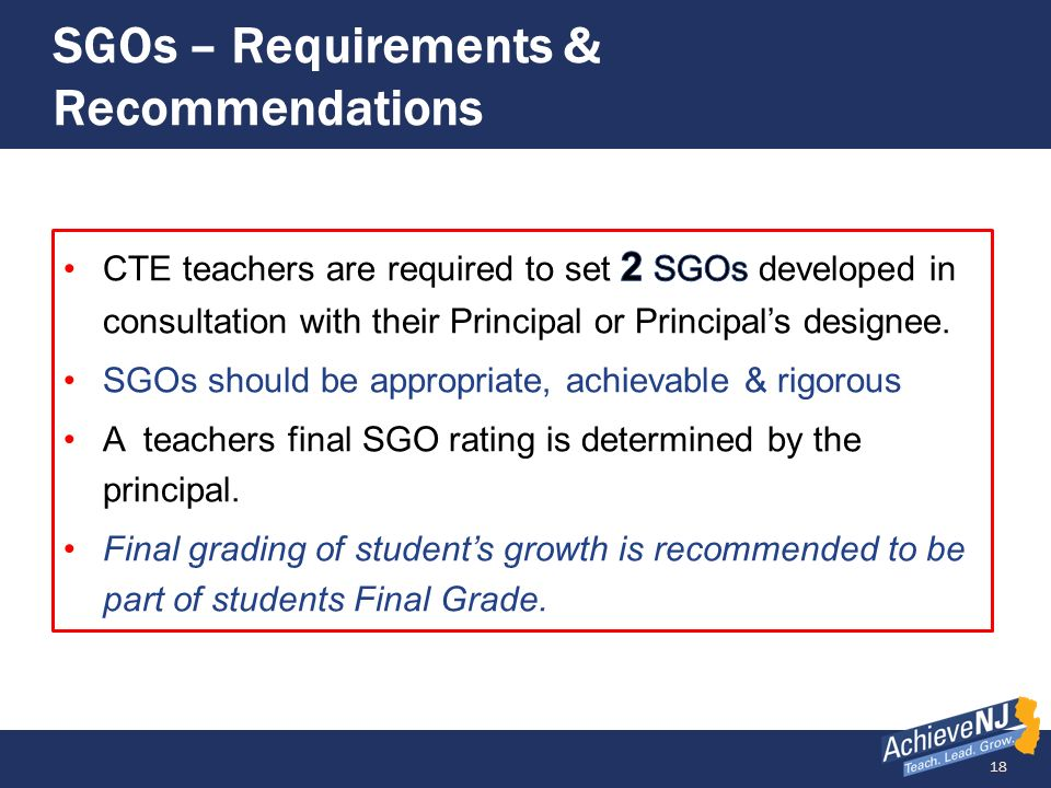 SGOs – Requirements & Recommendations