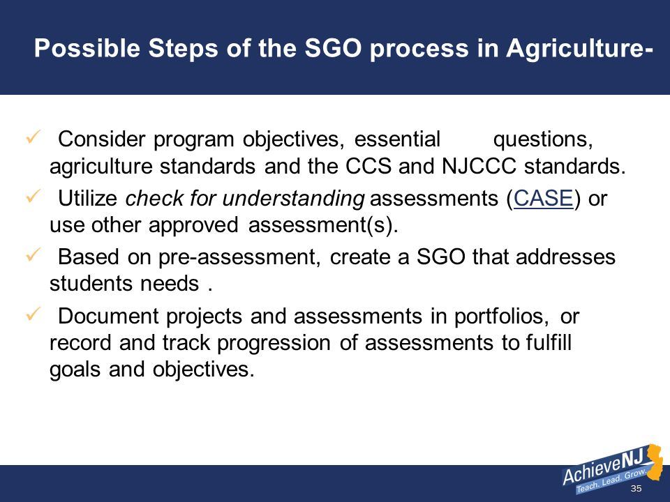 Possible Steps of the SGO process in Agriculture-