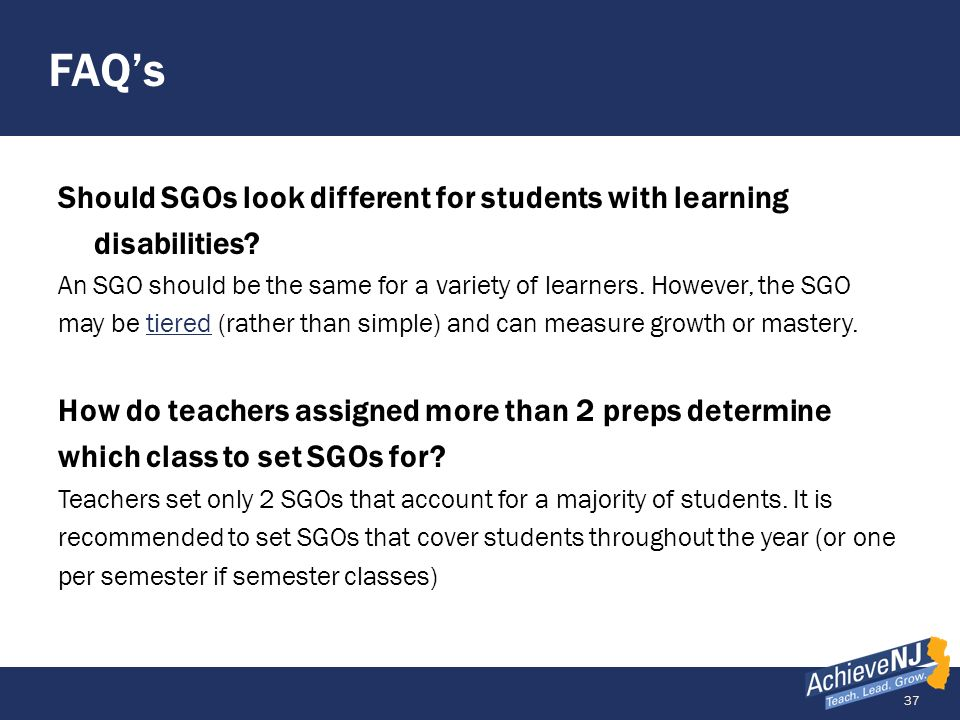 FAQ's Should SGOs look different for students with learning disabilities