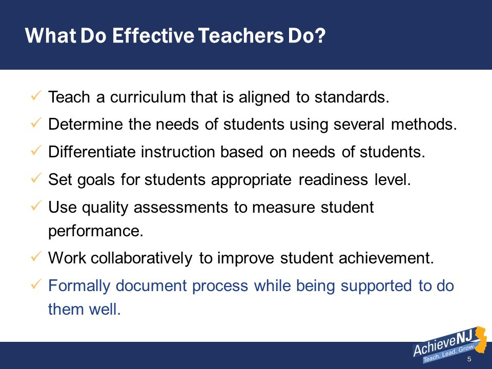 What Do Effective Teachers Do