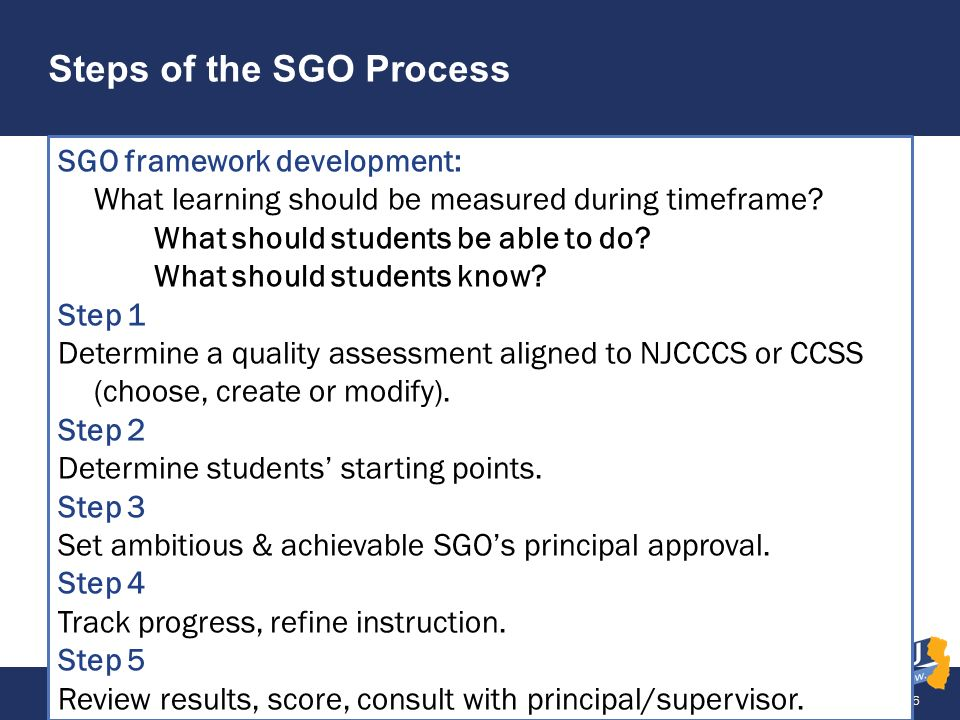 Steps of the SGO Process