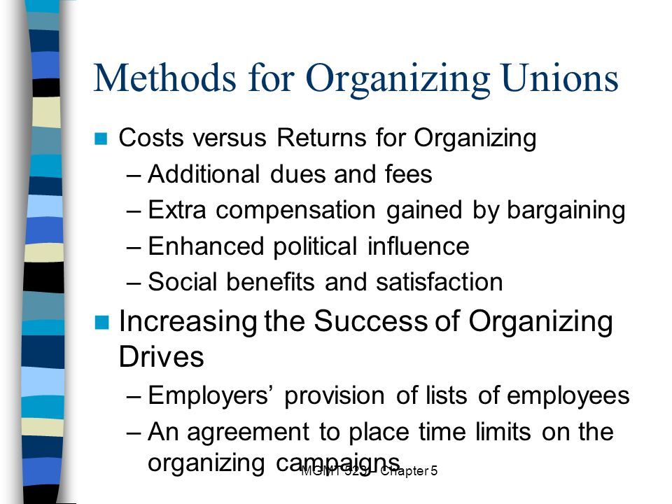 the way employee union are organized A union is an organized group of workers who work together and use their strength to have a voice in the workplace as a union, workers are able to have an impact on benefits, hours, safety and many other work-related issues.