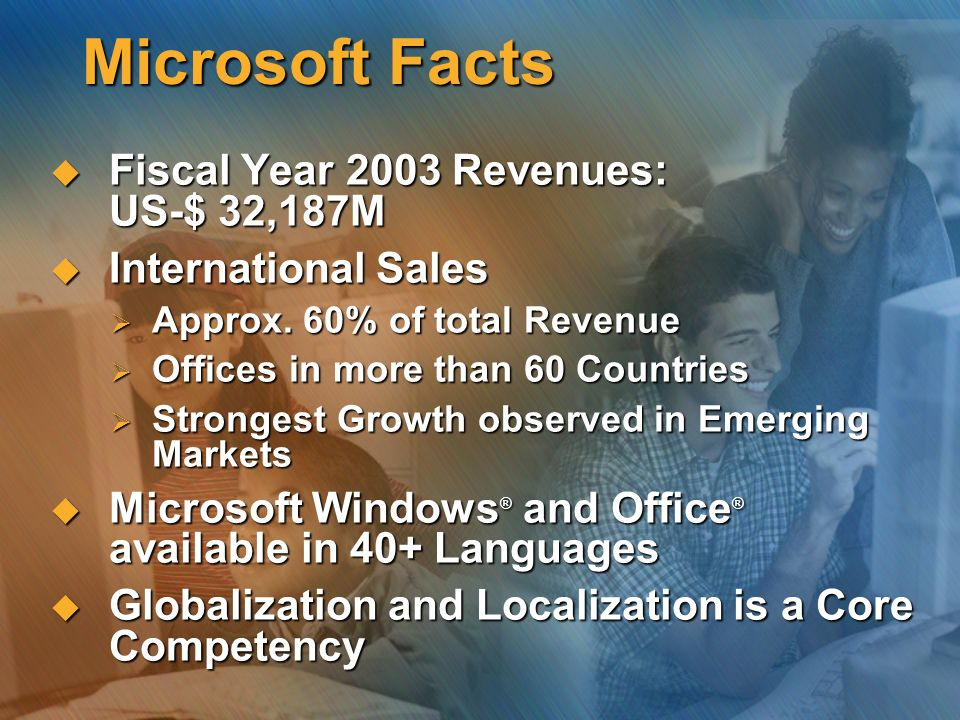 Microsoft Facts Fiscal Year 2003 Revenues: US-$ 32,187M