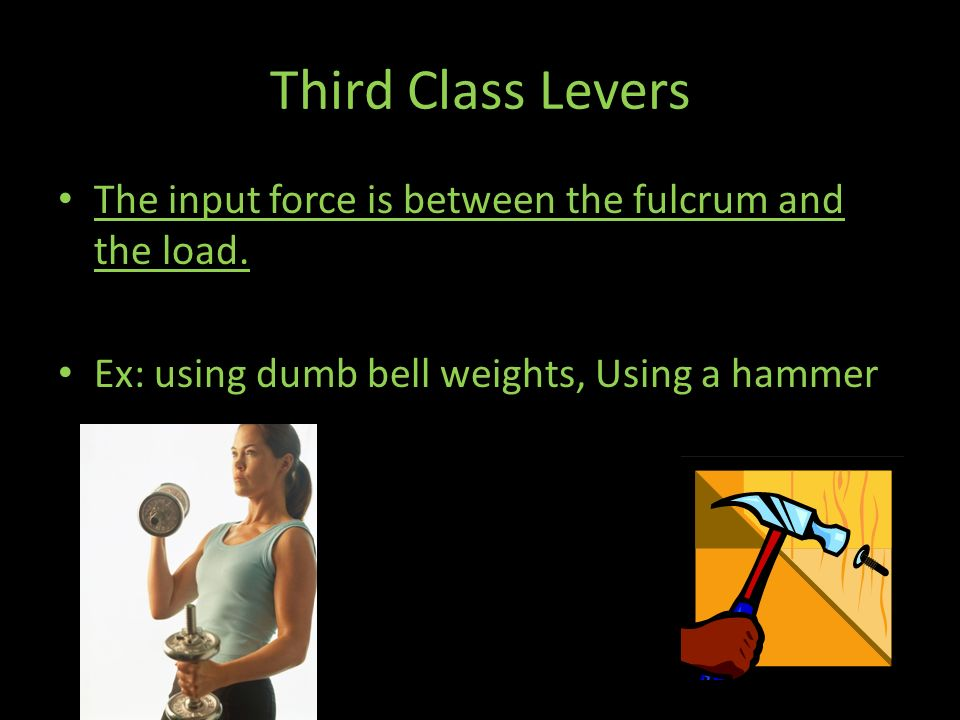 Third Class Levers The input force is between the fulcrum and the load.